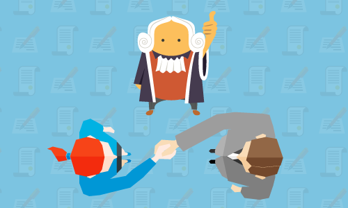 illustration of two people shaking hands and a judge overseeing their agreement