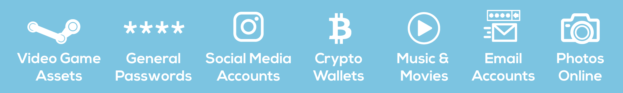 Digital assets like video game assets, general passwords, social media accounts, crypto wallets, music and movies, email accounts, and online photos